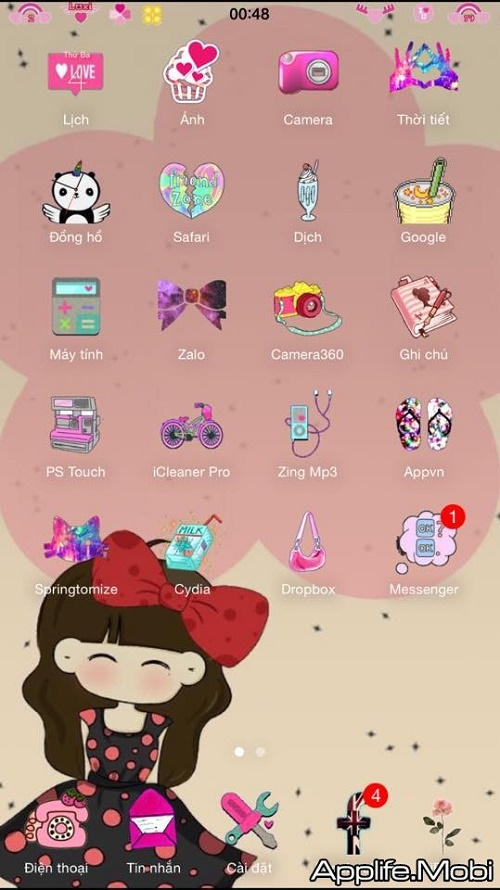 Tải Theme GIRL Cute Luxi dep cho iPhone