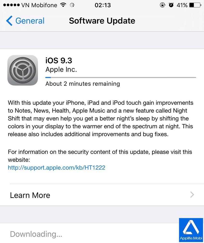 Cập nhật iOS 9.3 qua OTA