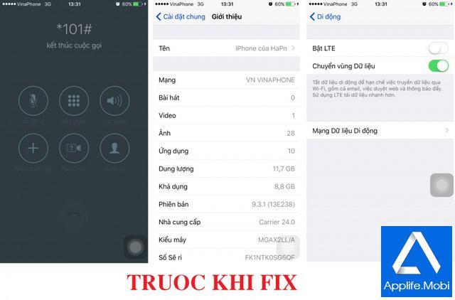 Trước khi Fix lỗi *101# trên iOS 9.3 chưa Jailbreak